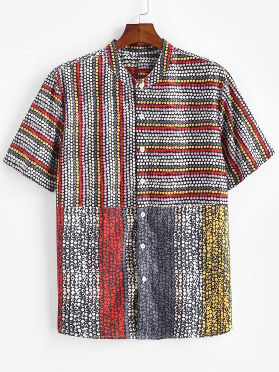 fashion Allover Dots Pattern Short Sleeve Shirt - BLACK M