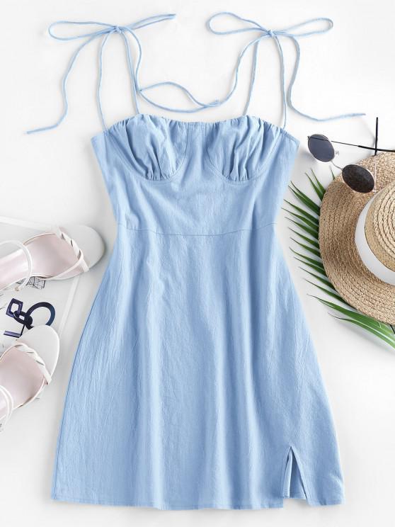 fashion ZAFUL Tie Cotton Bustier Dress - BABY BLUE S
