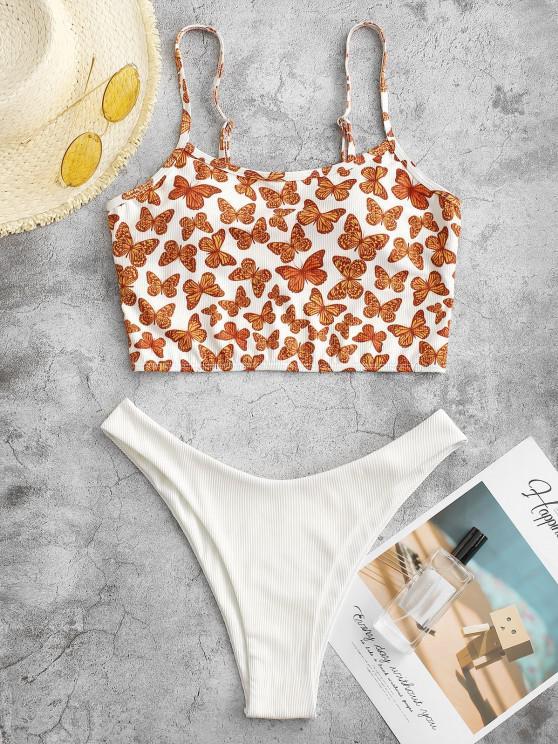 ZAFUL Schmetterlingdruck Gerippte Tankini Badebekleidung mit Hohem Bein - Orange L