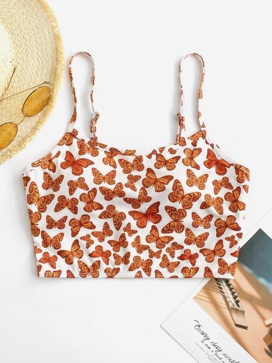 buy ZAFUL Butterfly Print Ribbed Cropped Bikini Top - ORANGE L