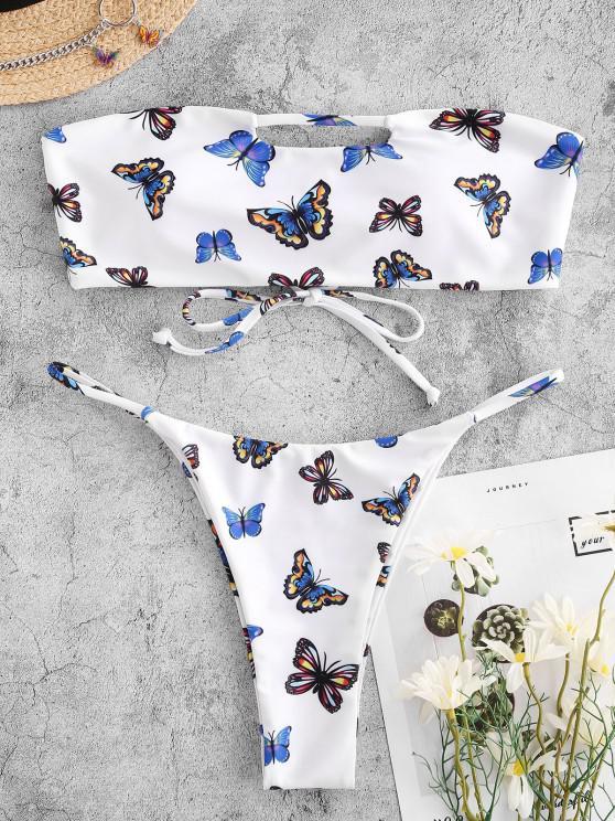 outfit ZAFUL Butterfly Print Keyhole Cutout Tanga Bandeau Bikini Swimwear - WHITE S