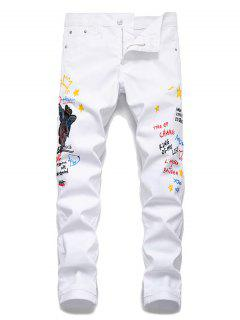 Angel Letter Grafitti Zipper Fly Jeans Pencil Pants - White 32
