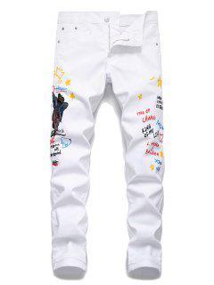 Angel Letter Grafitti Zipper Fly Jeans Pencil Pants - White 38