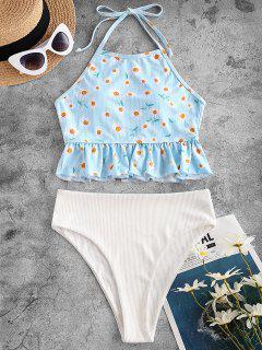 ZAFUL Daisy Print Ribbed Halter Peplum Tankini Swimwear - Light Blue L