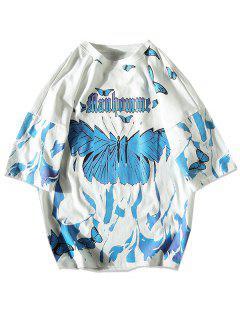 Farbe Schmetterlingdruck Fallschulter T-Shirt - Weiß M