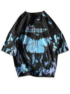 Paint Butterfly Print Drop Shoulder T-shirt - Black 3xl