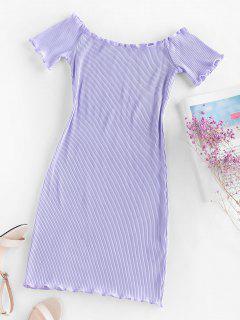 ZAFUL Ribbed Lettuce Trim Bodycon Dress - Light Purple Xl
