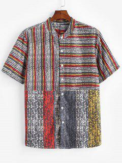 Allover Dots Pattern Short Sleeve Shirt - Black Xl
