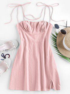 ZAFUL Tie Cotton Bustier Dress - Rose S