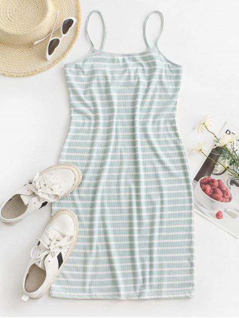 sale Striped Ribbed Bodycon Cami Dress - GREEN XL Mobile