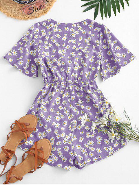 best Elastic Waist Daisy Print Tie Front Romper - PURPLE XL Mobile