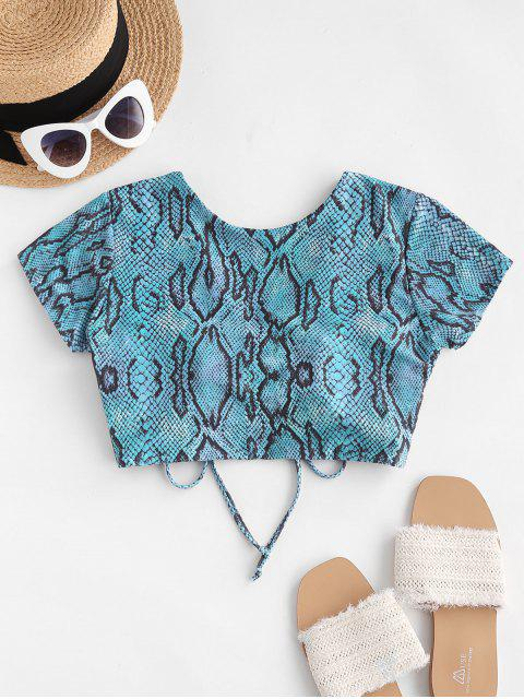 outfit ZAFUL Snakeskin Cinched V Neck Swim Top - BLUE XL Mobile