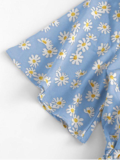 unique Elastic Waist Daisy Print Tie Front Romper - LIGHT BLUE S Mobile