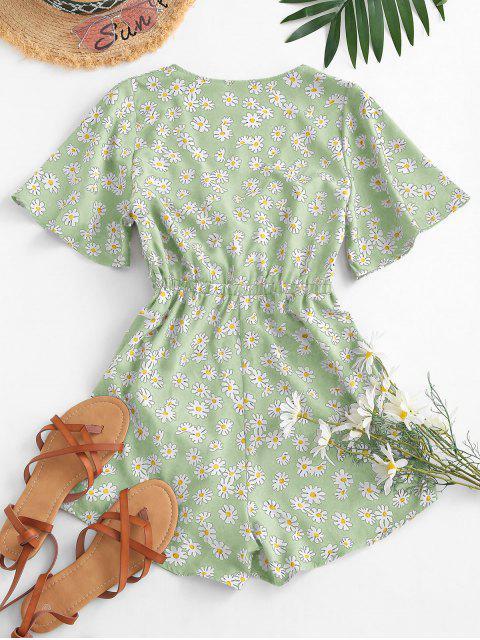 womens Elastic Waist Daisy Print Tie Front Romper - LIGHT GREEN S Mobile