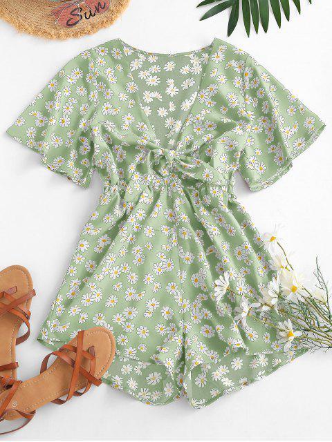 women Elastic Waist Daisy Print Tie Front Romper - LIGHT GREEN M Mobile