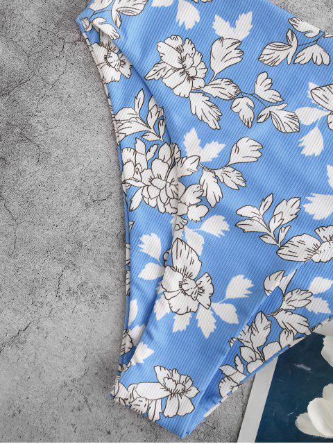 ZAFUL Maillot de Bain Tankini Côtelé Noué Fleur et Feuille Imprimées - Blanc XL Mobile