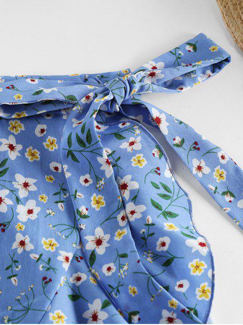 lady ZAFUL Tiny Floral Print Wrap Skirt - LIGHT BLUE M Mobile