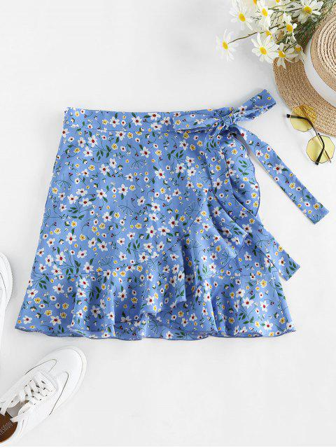 outfit ZAFUL Tiny Floral Print Wrap Skirt - LIGHT BLUE S Mobile