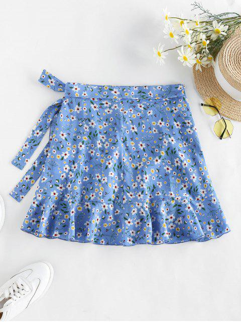 ladies ZAFUL Tiny Floral Print Wrap Skirt - LIGHT BLUE L Mobile