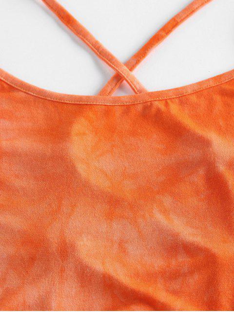 Top Cami Corto di Tie-Dye con Lacci di ZAFUL - Arancione Scuro L Mobile