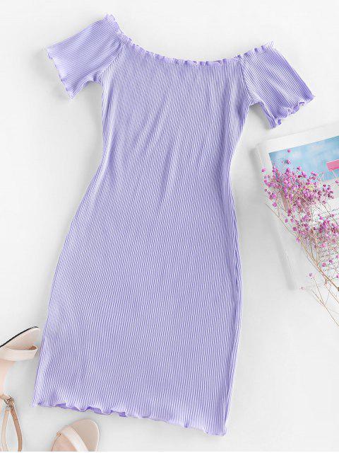 shops ZAFUL Ribbed Lettuce Trim Bodycon Dress - LIGHT PURPLE M Mobile
