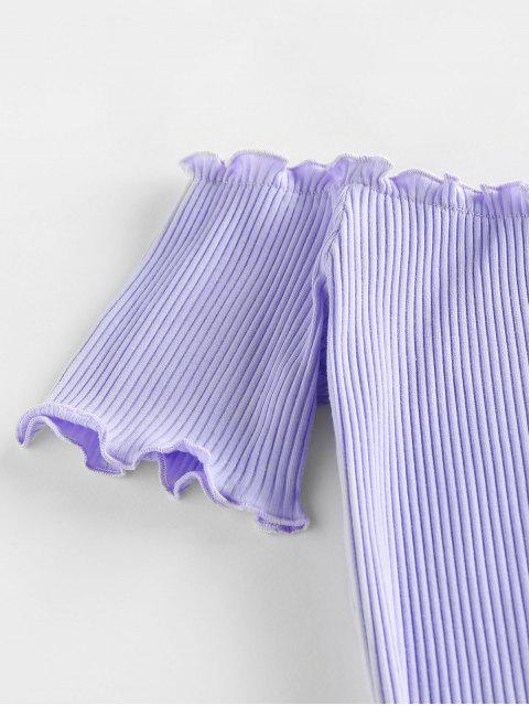 women ZAFUL Ribbed Lettuce Trim Bodycon Dress - LIGHT PURPLE S Mobile