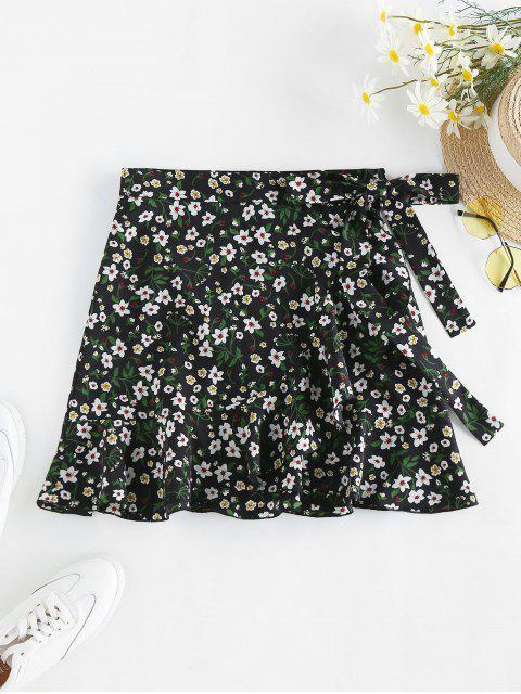 sale ZAFUL Tiny Floral Print Wrap Skirt - BLACK L Mobile