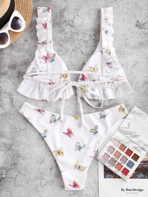 chic ZAFUL Ruffle Butterfly Print High Leg Bikini Swimwear - WHITE M Mobile