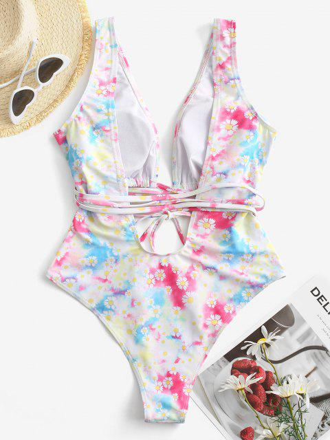 women's ZAFUL Daisy Print Cutout Plunging One-piece Swimsuit - MULTI S Mobile