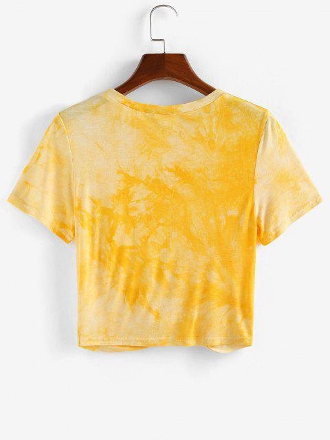 ZAFUL Torção Frente Cortar Tee Cortado - Amarelo M Mobile