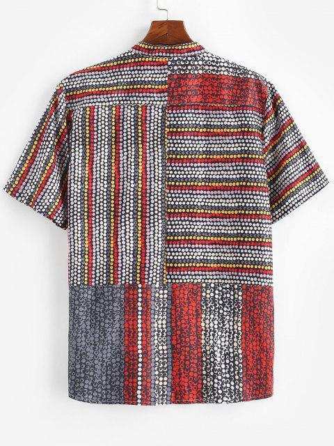 trendy Allover Dots Pattern Short Sleeve Shirt - BLACK S Mobile