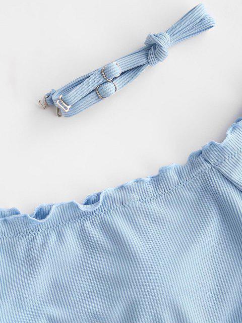 ZAFUL Haut de Maillot de Bain Côtelé Epaule Dénudée à Ourlet en Laitue - Bleu clair M Mobile