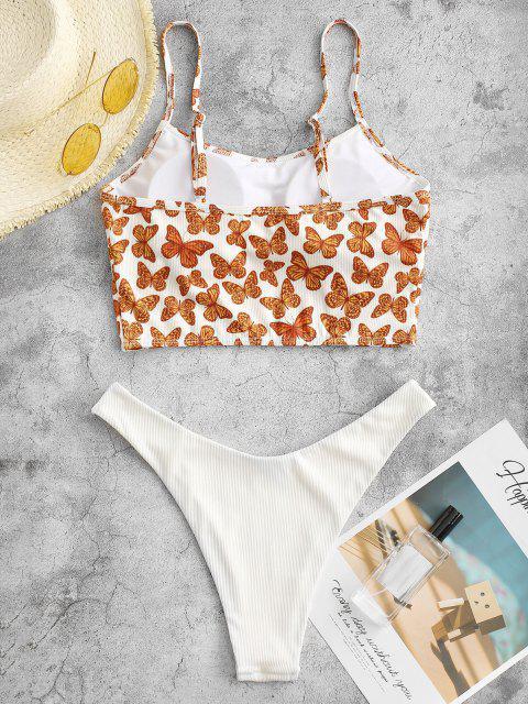ZAFUL Schmetterlingdruck Gerippte Tankini Badebekleidung mit Hohem Bein - Orange S Mobile