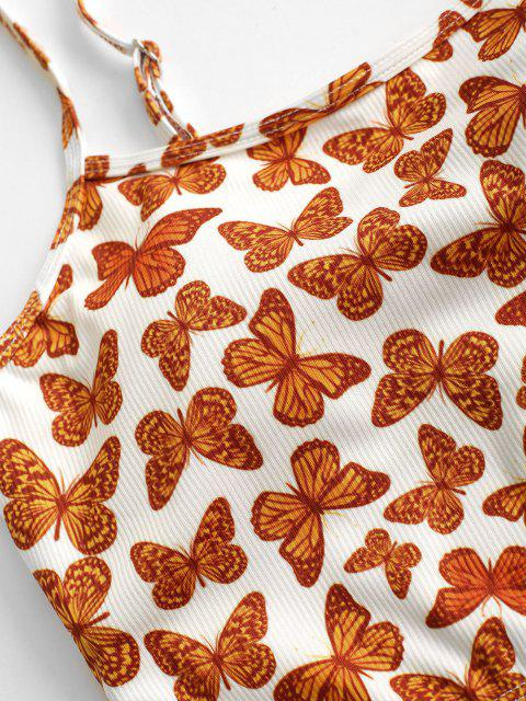 sale ZAFUL Butterfly Print Ribbed Cropped Bikini Top - ORANGE S Mobile