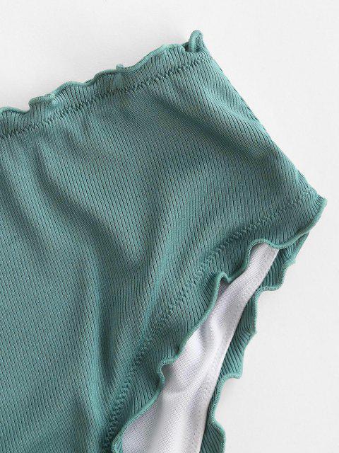 best ZAFUL Ribbed Lettuce High Waisted Bikini Bottom - LIGHT GREEN S Mobile