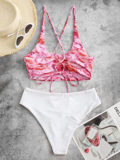 ZAFUL Maillot de Bain Tankini Abstrait Imprimé à Coupe Haute à Lacets - Rose clair M Mobile