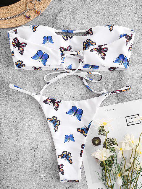 outfit ZAFUL Butterfly Print Keyhole Cutout Tanga Bandeau Bikini Swimwear - WHITE S Mobile