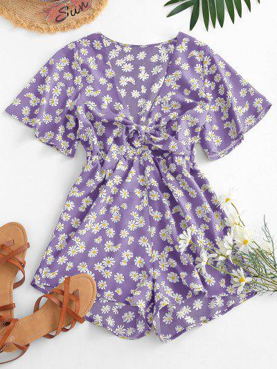 Elastic Waist Daisy Print Tie Front Romper - Purple L