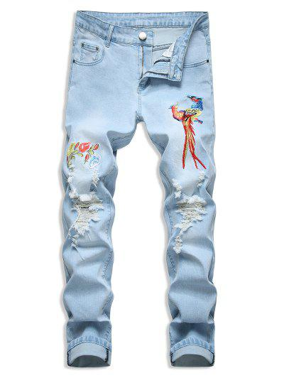 Floral Bird Embroidery Destroy Wash Long Jeans - Light Blue 32