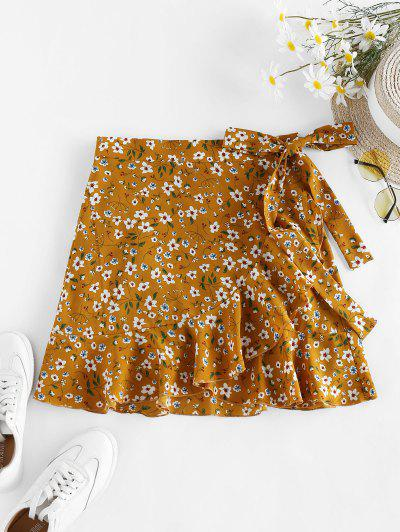 ZAFUL Tiny Floral Print Wrap Skirt - Deep Yellow S
