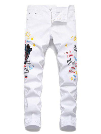 Angel Letter Grafitti Zipper Fly Jeans Pencil Pants - White 34
