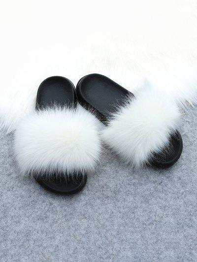 Faux Fur Casual Flat Slides - White Eu (38-39)