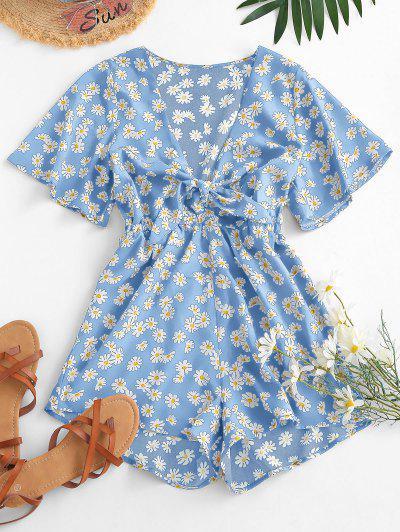 Elastic Waist Daisy Print Tie Front Romper - Light Blue S