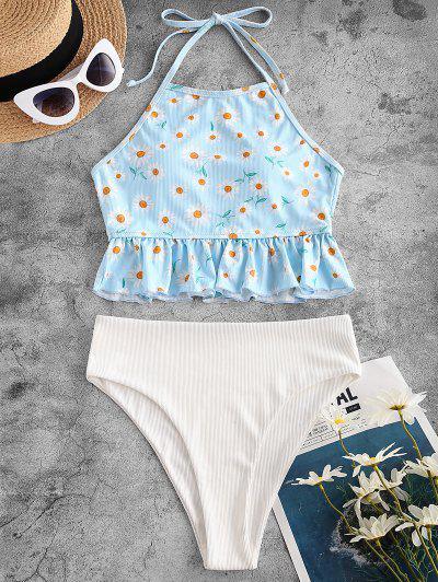 ZAFUL Daisy Print Ribbed Halter Peplum Tankini Swimwear - Light Blue M