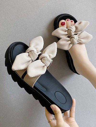 Double Bowknot Platform Slides Sandals - Beige Eu 38