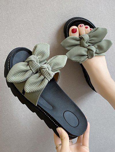 Double Bowknot Platform Slides Sandals - Green Eu 37