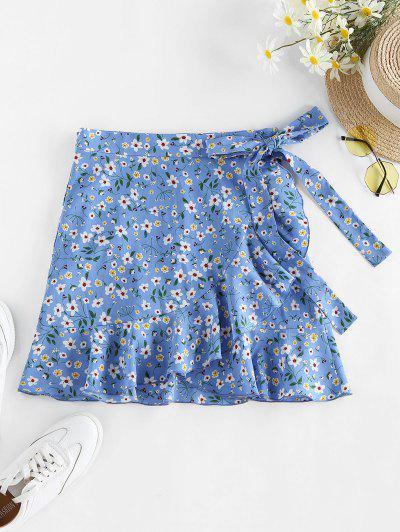 ZAFUL Tiny Floral Print Wrap Skirt - Light Blue L