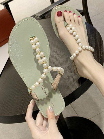 Sandalias De Tanga Con Perlas De Imitación - Verde De Mar  Eu 39