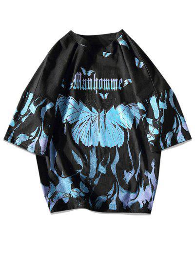 Paint Butterfly Print Drop Shoulder T-shirt - Black M