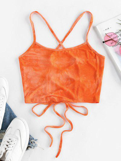 ZAFUL Tie Dye Lace Up Crop Cami Top - Dark Orange Xl